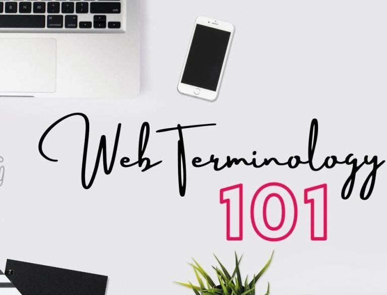 """Image of """"web terminology 101"""" in front of a laptop and cell phone."""