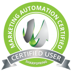 A green logo for marketing automation company, with an arrow.