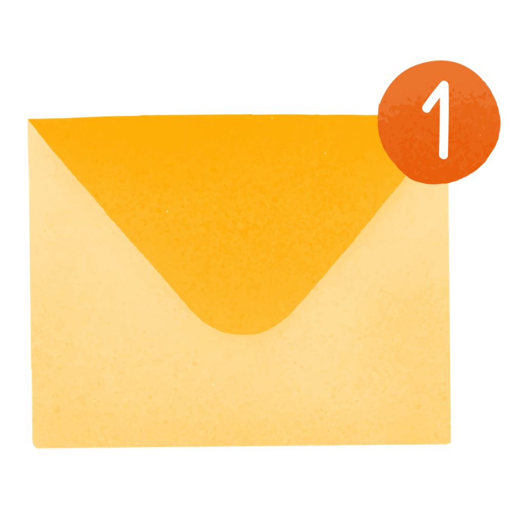 Illustration of a mail envelope with the number 1 above it.