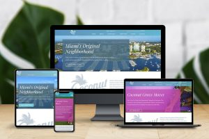 Mockup image of a responsive website on different devices.