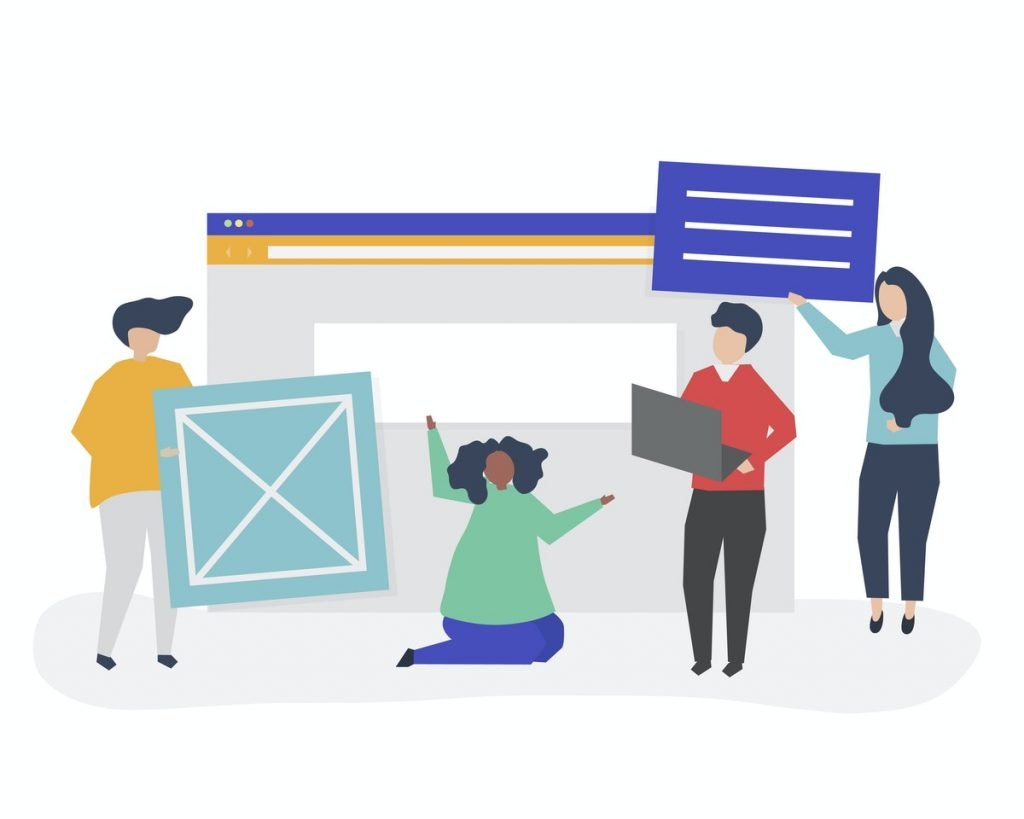 Illustration of a group of people in front of a web browser windows, holding a laptop and boxes.