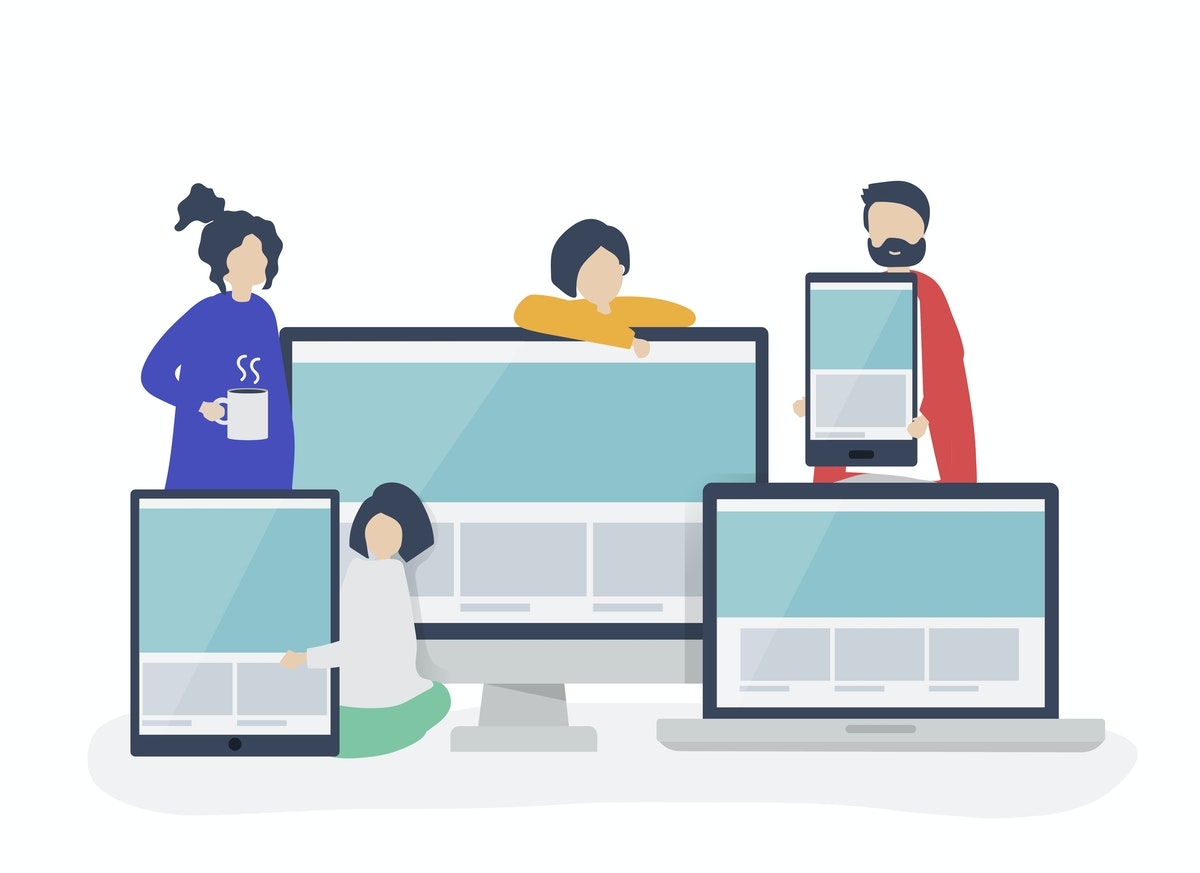 An illustration of a group of people standing next to a laptop, phone, desktop and tablet.