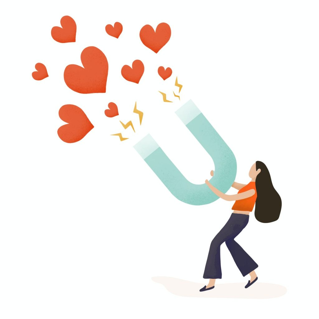 Illustration of a woman holding a gigantic magnet attracting hearts.