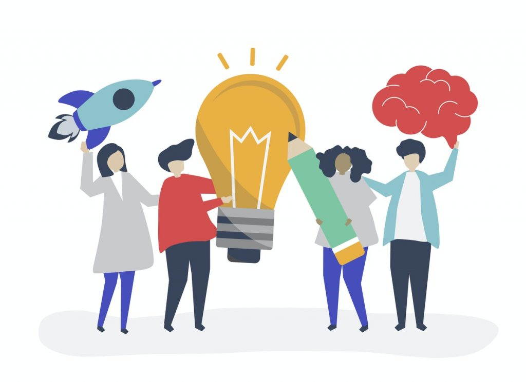 A illustration of a group of people standing next to each other, holding a rocket, lightbulb, pencil and a brain.