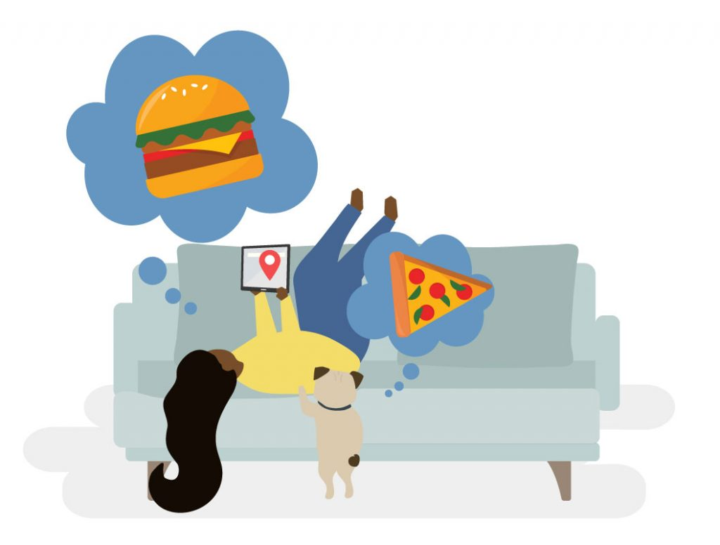 Illustration of a person laying on a couch thinking of a cheeseburger while looking at a tablet. A dog is thinking of pizza.